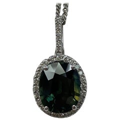 GIA Certified 3.53ct Untreated Deep Green Blue Sapphire Diamond Cluster Pendant
