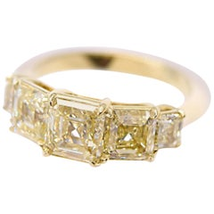 GIA Certified 3.54 Carat Asscher Cut Yellow Diamond Band in 18 Karat Yellow Gold
