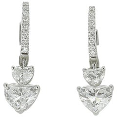 GIA Certified 3.54 Carat Heart Diamond Heart Drop Earrings 18K White Gold