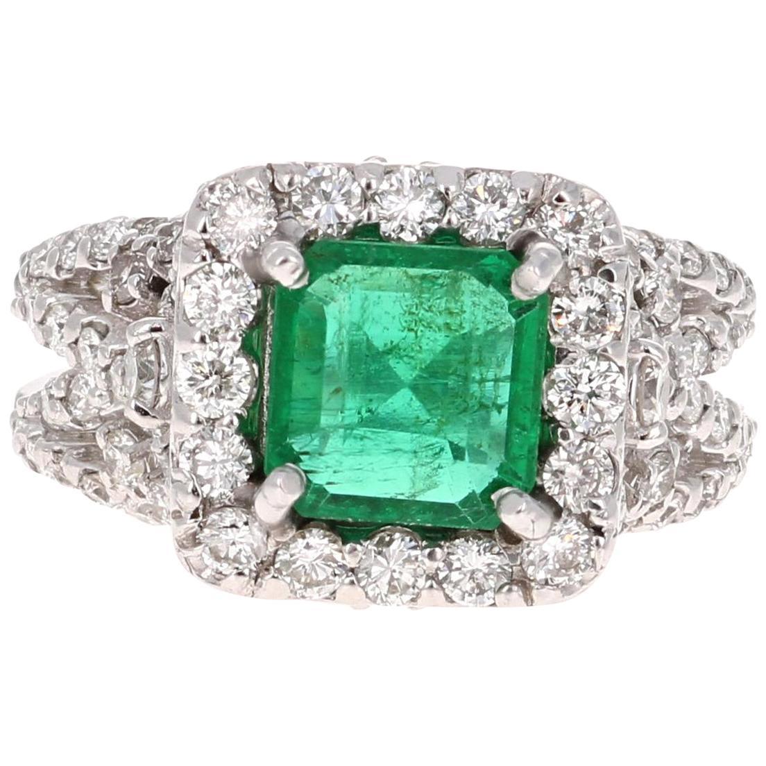 GIA Certified 3.54 Carat Emerald Diamond 14 Karat White Gold Engagement Ring