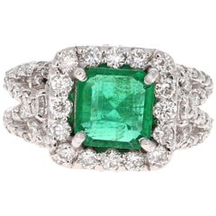 GIA Certified 3.54 Carat Emerald Diamond 14 Karat White Gold Engagement Ring