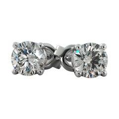 GIA Certified 1.70 & 1.85 Carat J Color Diamond Stud Earrings