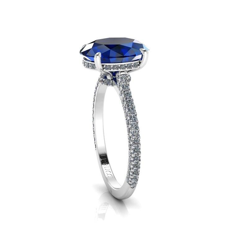 Art Deco GIA Certified 3.55 Carat Madagascar Blue Sapphire Diamonds Platinum Ring For Sale
