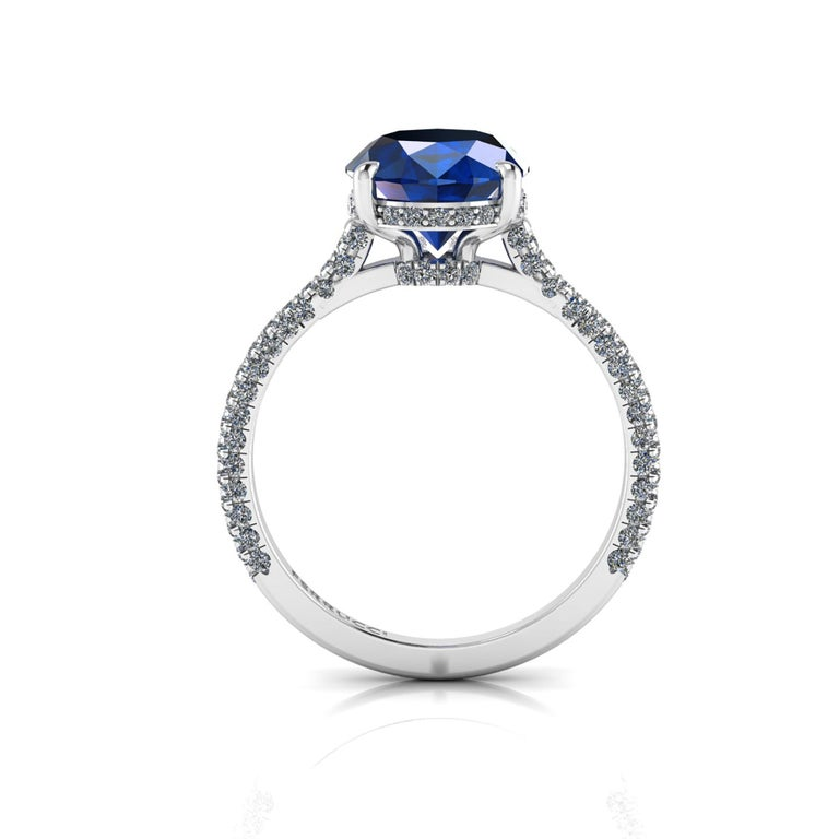 Oval Cut GIA Certified 3.55 Carat Madagascar Blue Sapphire Diamonds Platinum Ring For Sale