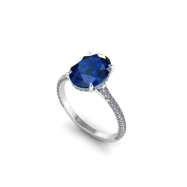 Women's GIA Certified 3.55 Carat Madagascar Blue Sapphire Diamonds Platinum Ring For Sale