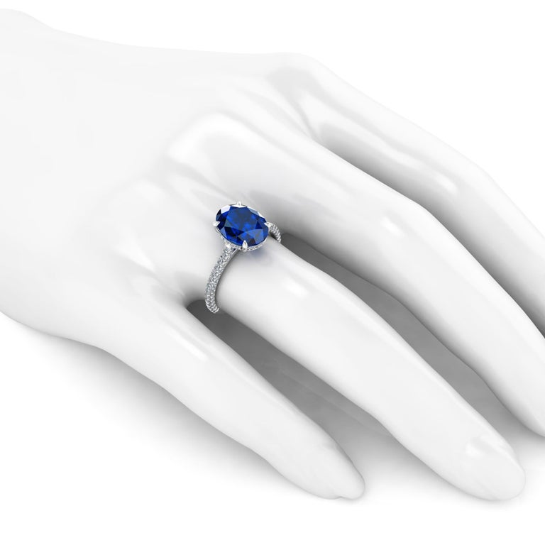 GIA Certified 3.55 Carat Madagascar Blue Sapphire Diamonds Platinum Ring For Sale 2