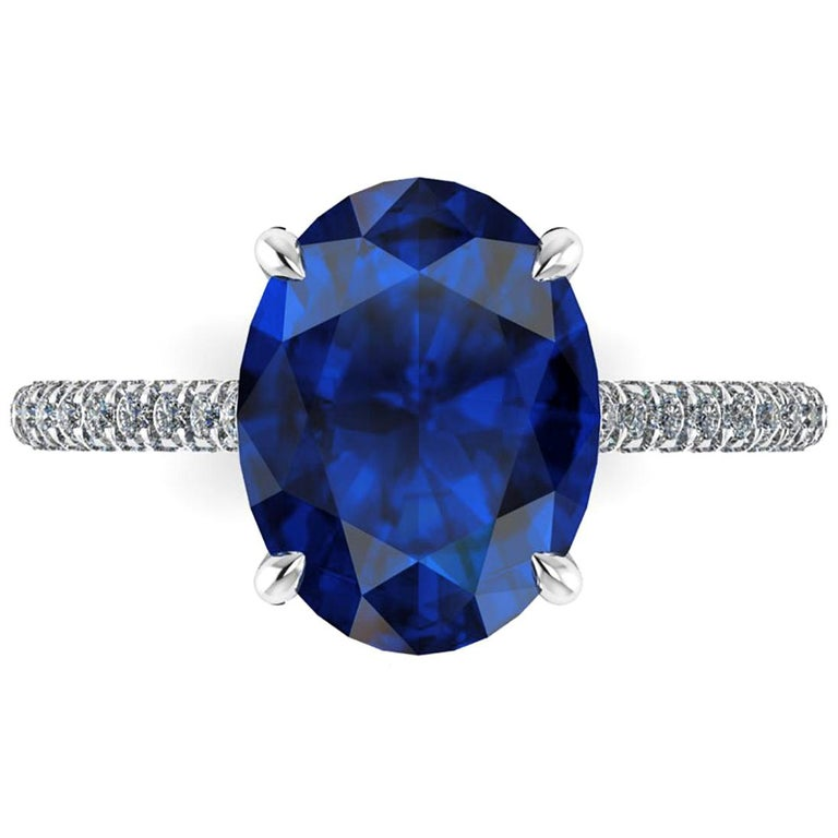 GIA Certified 3.55 Carat Madagascar Blue Sapphire Diamonds Platinum Ring For Sale
