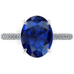 GIA Certified 3.55 Carat Madagascar Blue Sapphire Diamonds Platinum Ring