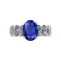 GIA Certified 3.55 Carat Madagascar Blue Sapphire Oval Diamonds Platinum Ring