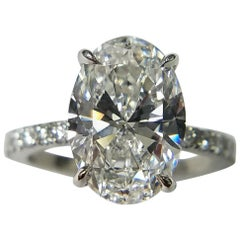 GIA Certified 3.55 Carat Oval Cut Diamond Ring