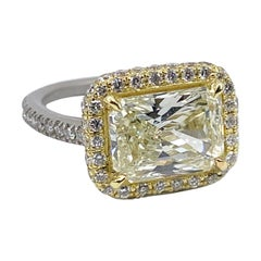 GIA Certified 3.55 Carat Radiant Cut Pale Yellow Diamond Halo Ring