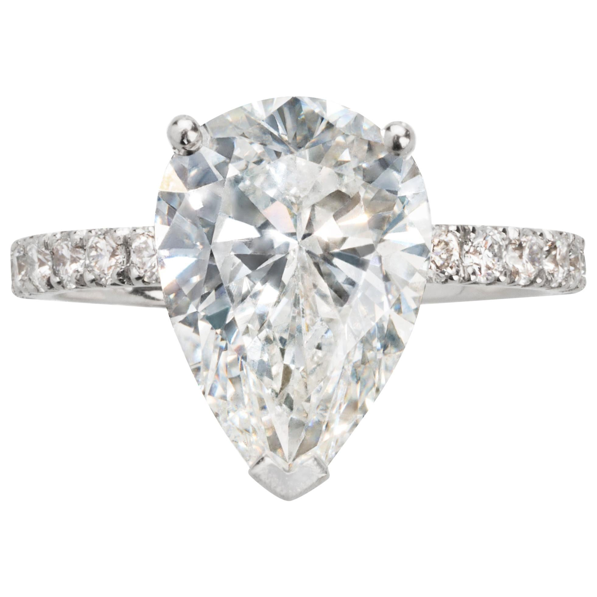 GIA Certified G/SI2 3.56ct Pear Shape Diamond Platinum Engagement Ring