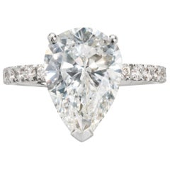 GIA Certified 3.56 Carat Pear Shape Diamond Platinum Engagement Ring