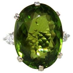 GIA Certified 35.63 Carat Natural Green Peridot Diamonds Rings 18 Karat