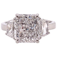 GIA Certified 3.57 Carat D SI1 Natural Diamond Modern Platinum Engagement Ring