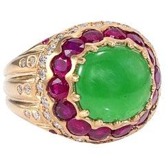 GIA Certified 3.57 Carat Type A Imperial Jadeite Jade 18 Karat Yellow Gold Ring