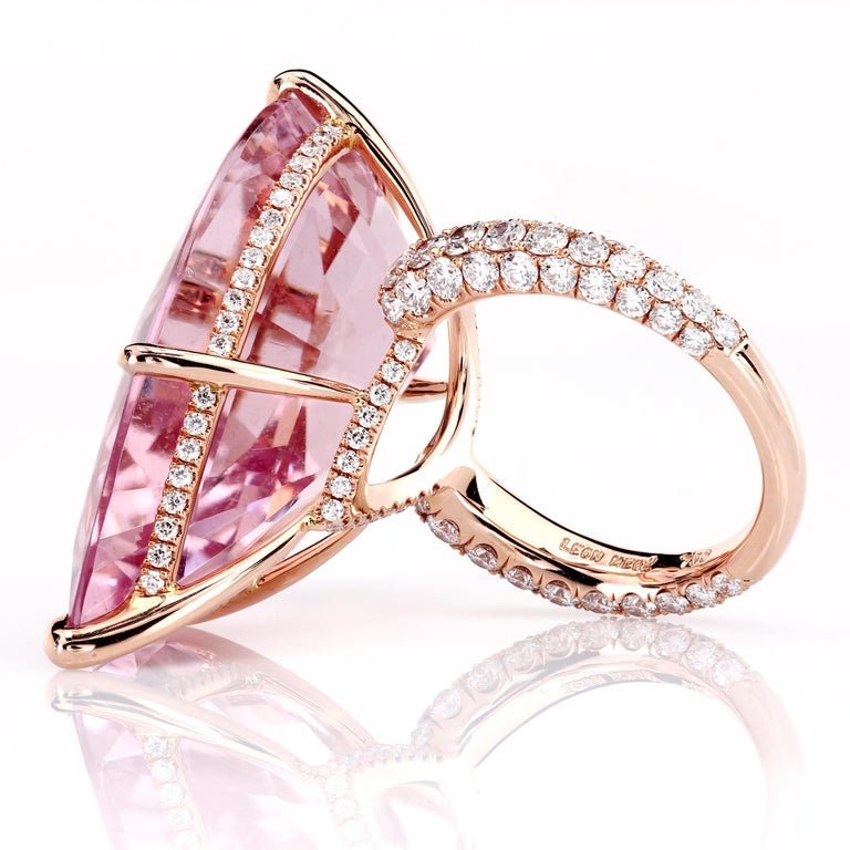 Contemporary GIA Certified 35.73 Carat Pink Morganite 18 Karat Rose Gold Micro Pave Ring For Sale