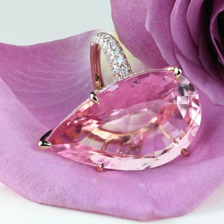 Women's GIA Certified 35.73 Carat Pink Morganite 18 Karat Rose Gold Micro Pave Ring For Sale