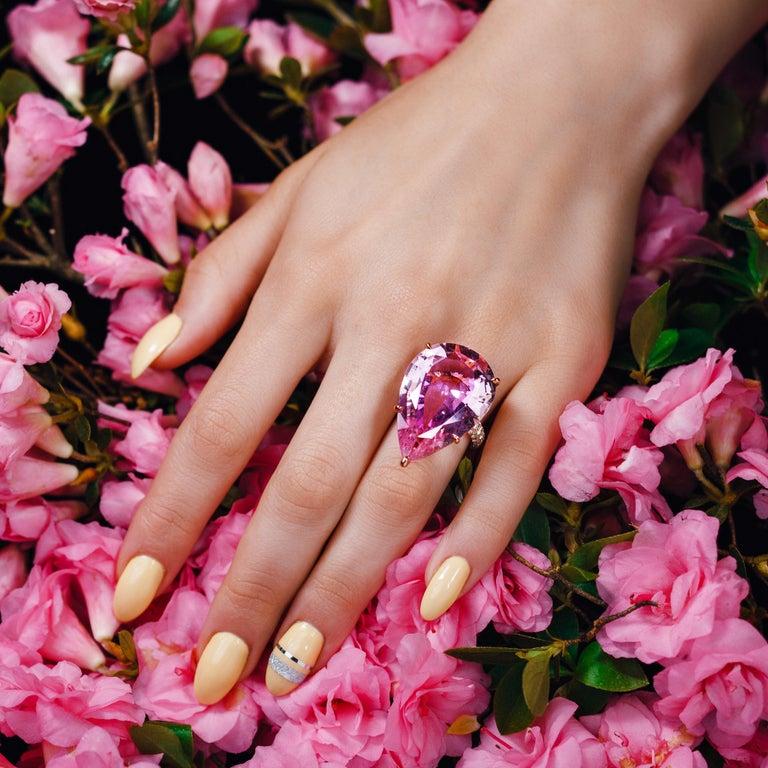 GIA Certified 35.73 Carat Pink Morganite 18 Karat Rose Gold Micro Pave Ring For Sale 1