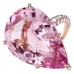 GIA Certified 35.73 Carat Pink Morganite 18 Karat Rose Gold Micro Pave Ring