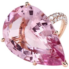GIA Certified 35.73 Carat Pink Morganite 18 Karat Rose Gold Micro Pave Ring