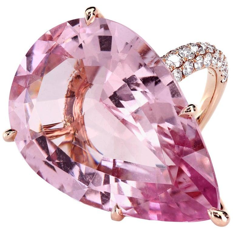 GIA Certified 35.73 Carat Pink Morganite 18 Karat Rose Gold Micro Pave Ring For Sale
