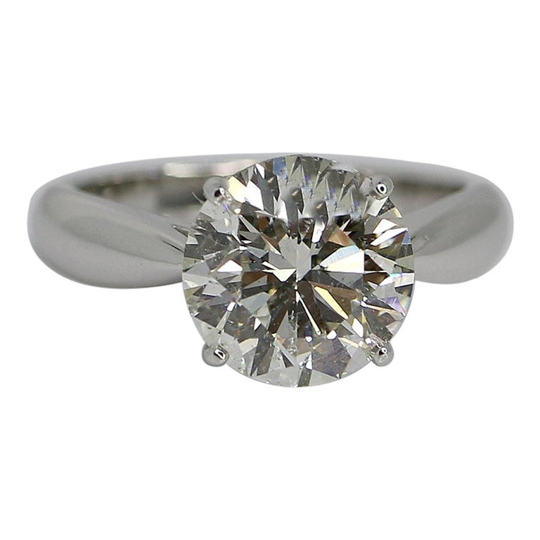 GIA Certified 3.58 Carat Round Brilliant Diamond Ring For Sale
