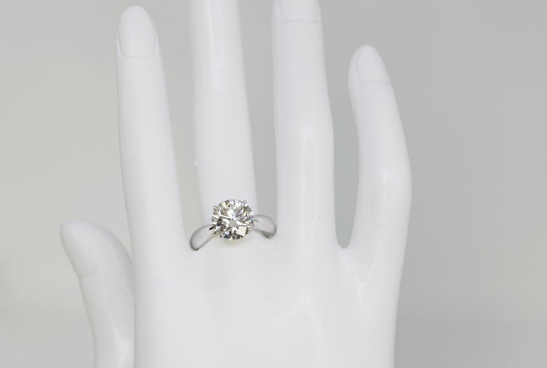 GIA Certified 3.58 Carat Round Brilliant Diamond Ring For Sale 1
