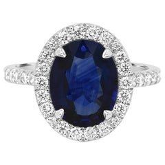 GIA Certified 3.59 Carat Sapphire Diamond Halo Platinum Bridal Cocktail Ring