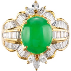 GIA Certified 3.60 Carat Jadeite Jade Diamond Yellow Gold Cocktail Ring
