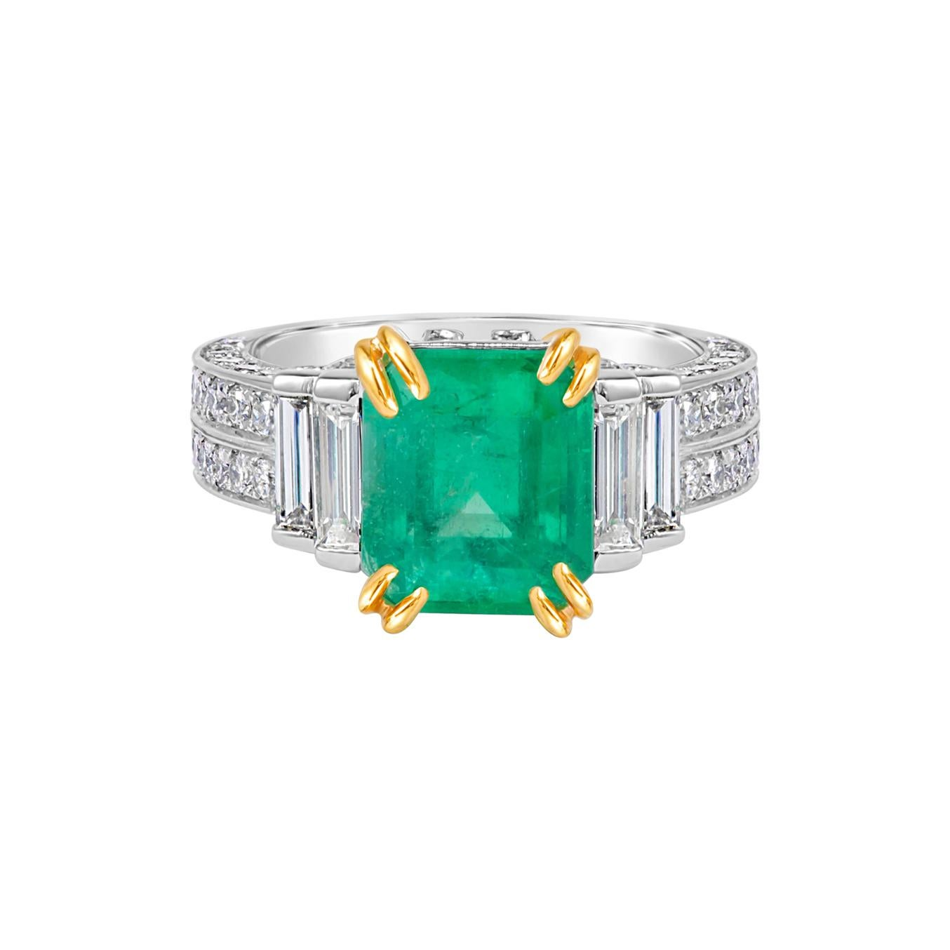 GIA Certified 3.60 Carat Natural Colombian Emerald Platinum Cocktail Ring
