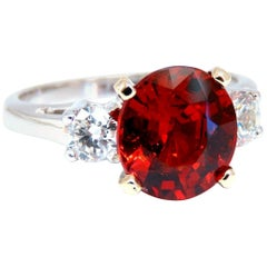 GIA Certified 3.60 Carat Natural Spessartite Garnet Ring Red Orange Prime