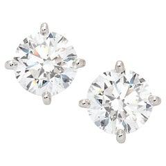 GIA Certified 3.60 Carat Round Brilliant Cut Diamond 18 Carats White Gold Studs