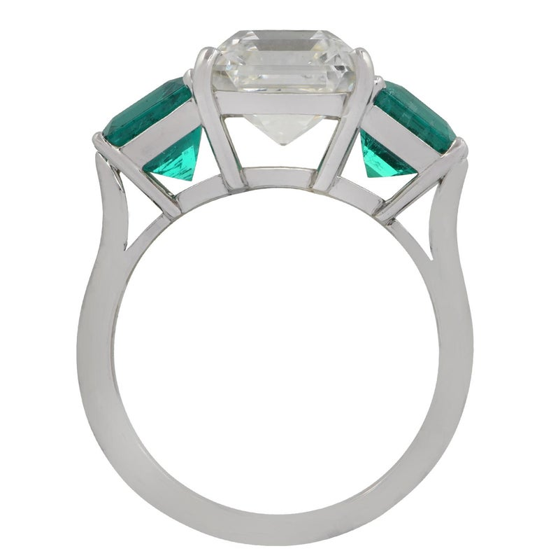 Modern GIA Certified 3.61 Carat Diamond Emerald Ring For Sale