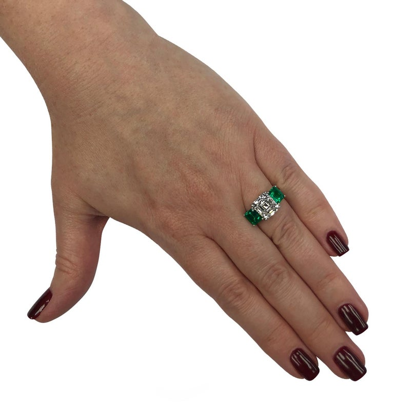Emerald Cut GIA Certified 3.61 Carat Diamond Emerald Ring For Sale