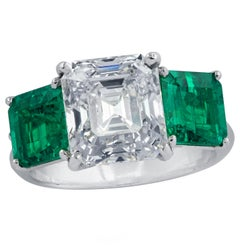 Vivid Diamonds Certified 3.61 Carat Diamond Emerald Ring