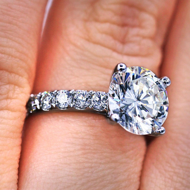 GIA Certified 3.61 Carat E-SI Engagement Ring In New Condition For Sale In New York, NY