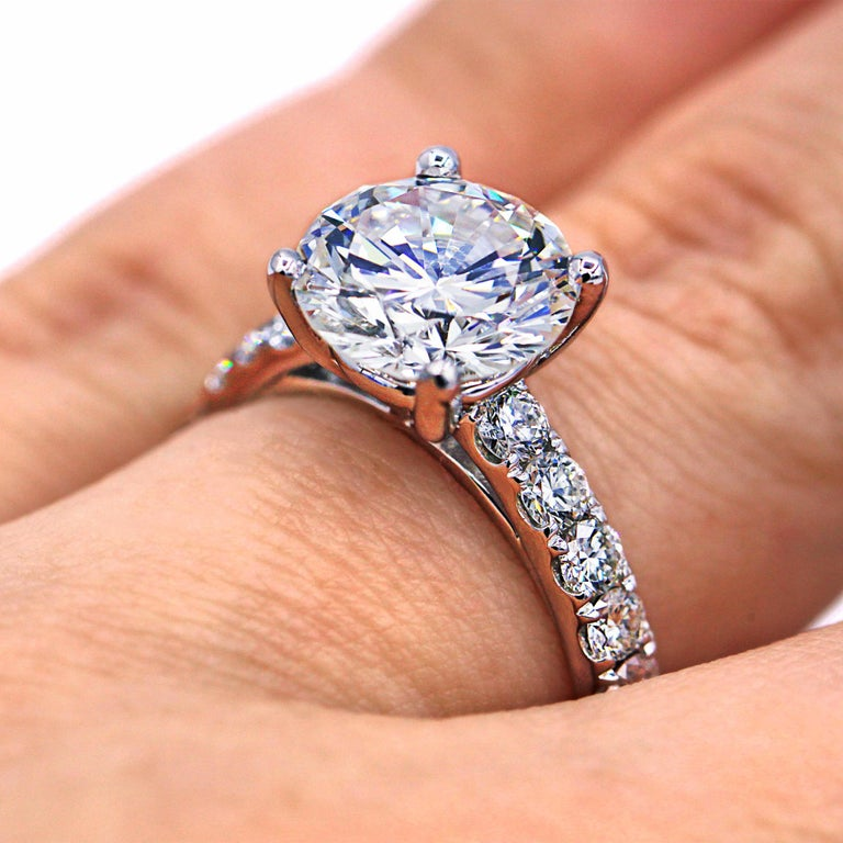 GIA Certified 3.61 Carat E-SI Engagement Ring For Sale 1