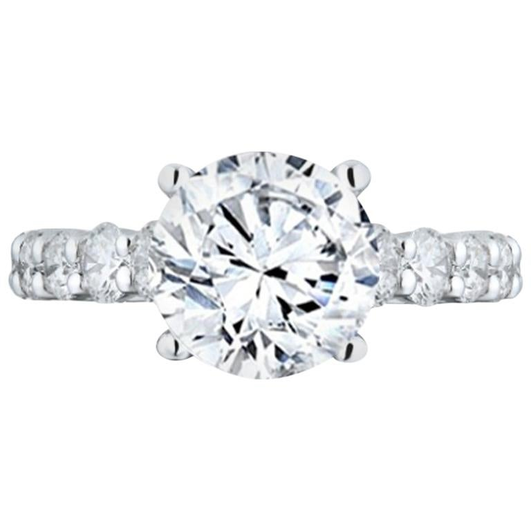 GIA Certified 3.61 Carat E-SI Engagement Ring For Sale