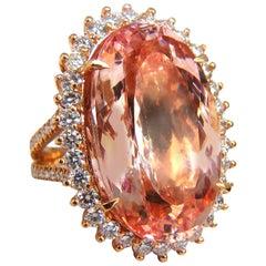 GIA Certified 36.18 Carat Natural Orangey Pink Morganite Diamonds Ring 18 Karat