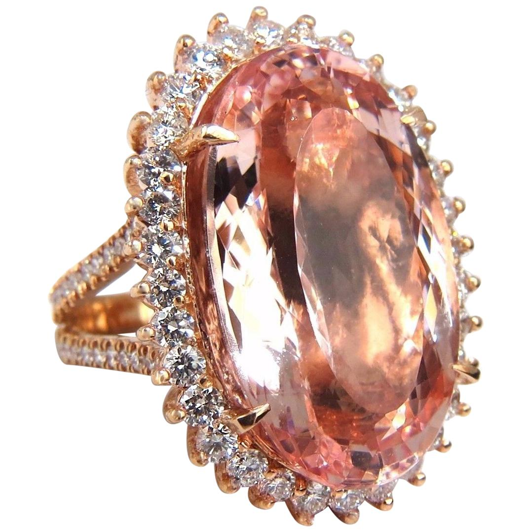 GIA Certified 36.18 Carat Natural Orangy Pink Morganite Diamonds Ring 18 Karat