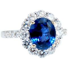 GIA Certified 3.61 Carat Natural No Heat Sapphire Diamond Ring Unheated 18 Karat