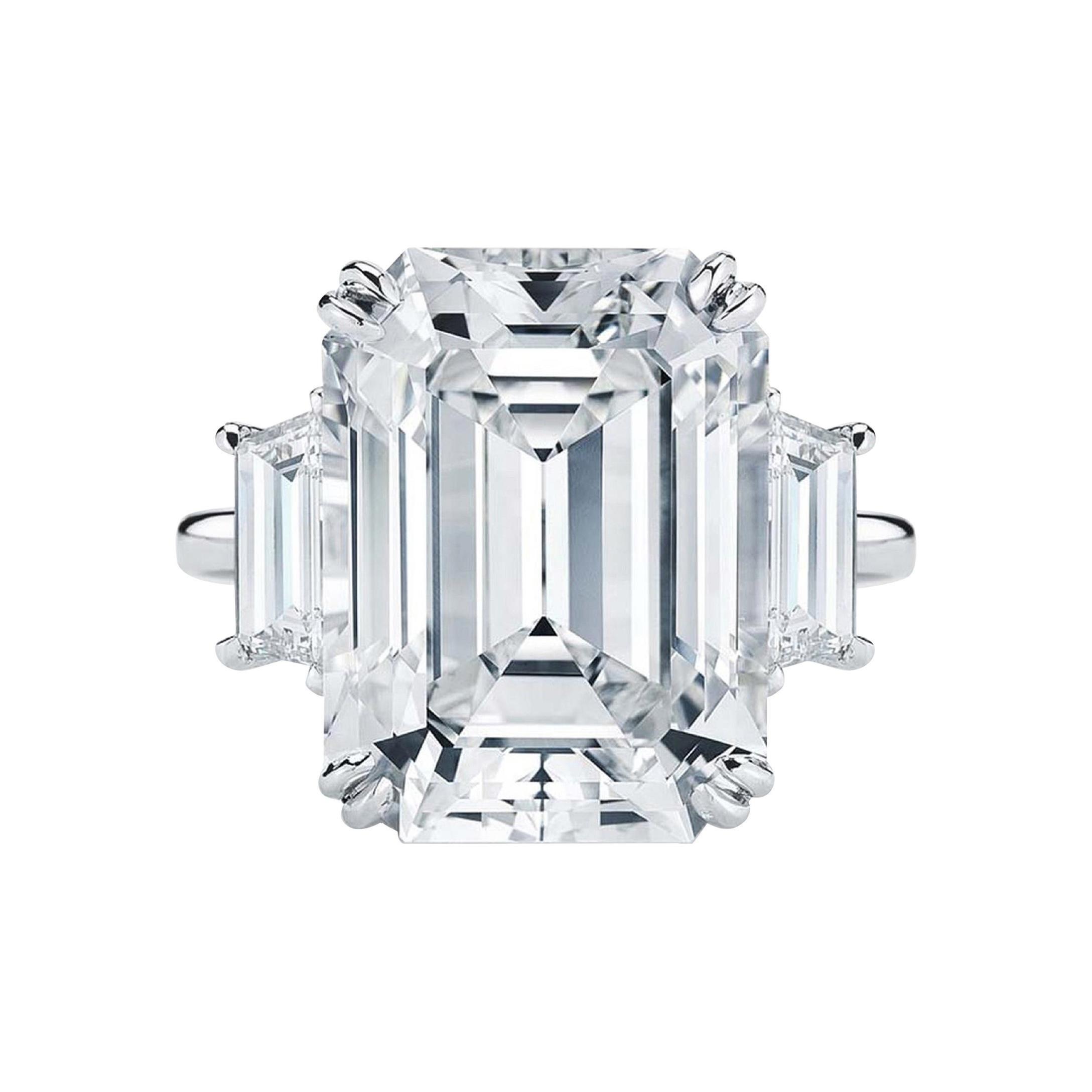 GIA Certified 4.65 Carat Emerald Cut Diamond Platinum Ring