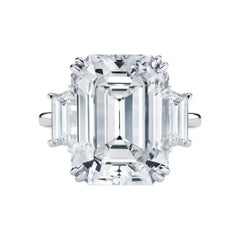 GIA Certified 3.62 Carat Emerald Cut Diamond Platinum Ring