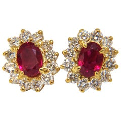 GIA Certified 3.64 Carat Natural Ruby Diamond Earrings 18 Karat