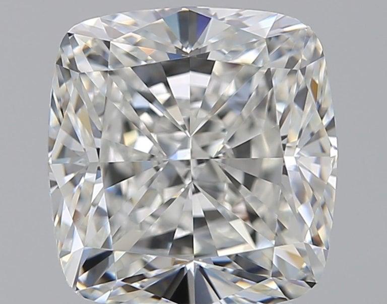 Modern GIA Certified 3.65 Carat Cushion Cut Diamond Platinum Ring For Sale