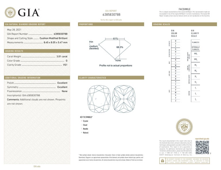 GIA Certified 3.65 Carat Cushion Cut Diamond Platinum Ring In New Condition For Sale In Rome, IT
