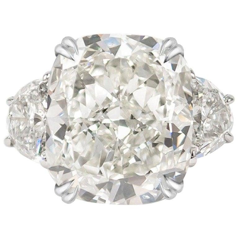 GIA Certified 3.65 Carat Cushion Cut Diamond Platinum Ring For Sale