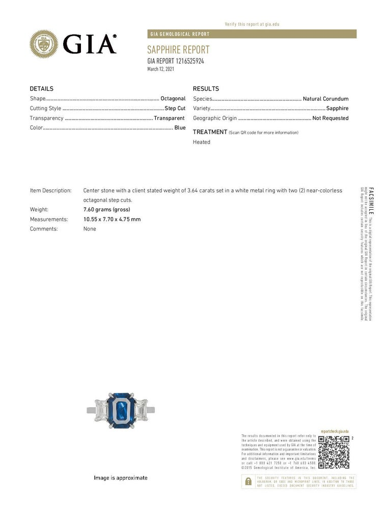 GIA Certified 3.65 Carat Emerald Cut Blue Sapphire and Diamond Three-Stone Ring For Sale 1