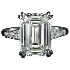 GIA Certified 3.65 Carat Emerald Cut Diamond Platinum Ring